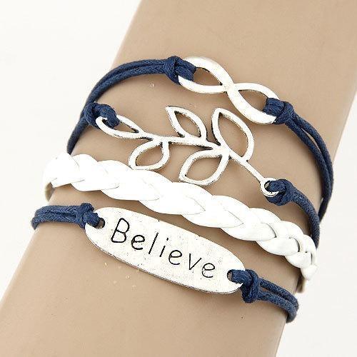 Bracelet Vintage Feuilles - Blanc bracelet