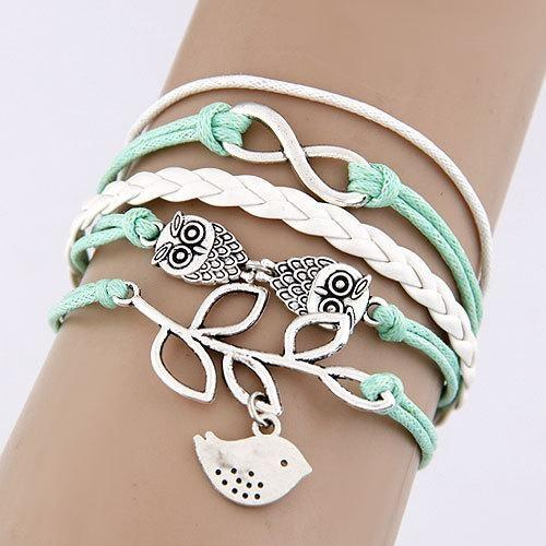 Bracelet Vintage Hibou/Feuilles TurquoisePâle bracelet