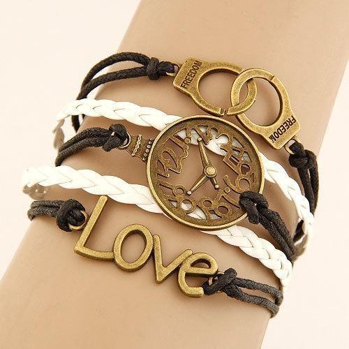 Bracelet Vintage Horloge/Menottes - Blanc bracelet