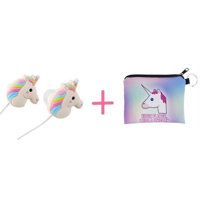 Ecouteurs + pochette licorne Ecouteurs avec sac écouteurs