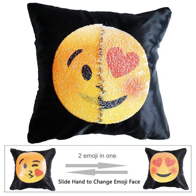 Housse de coussin magique dual-emoji bisou/amoureux