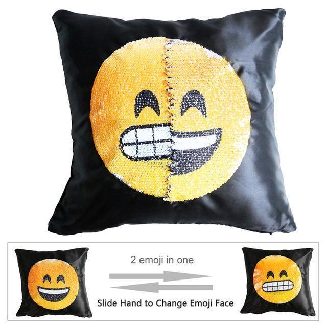 Housse de coussin magique dual-emoji dents/rire