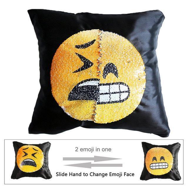 Housse de coussin magique dual-emoji dents/triste