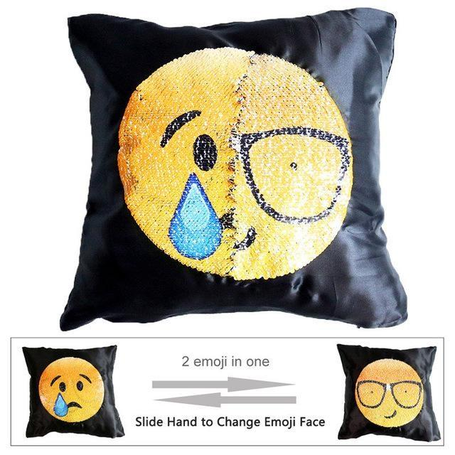 Housse de coussin magique dual-emoji larme/geek