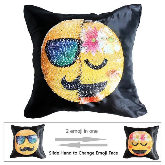Housse de coussin magique dual-emoji moustache/fleurs