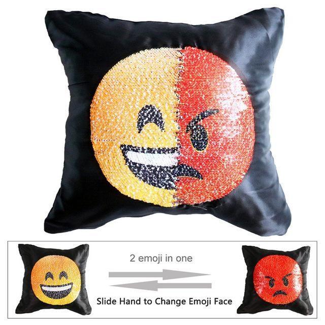 Housse de coussin magique dual-emoji rire/furieux