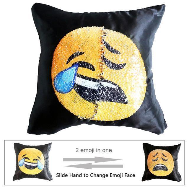 Housse de coussin magique dual-emoji rire/triste