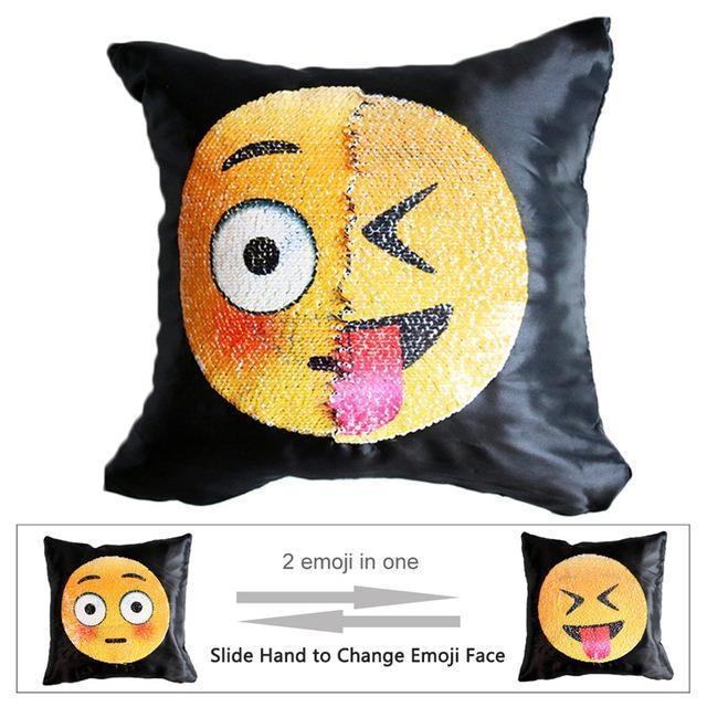 Housse de coussin magique dual-emoji timide/x-langue