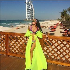 Robe de plage Jaune - manches courtes / Taille unique robe