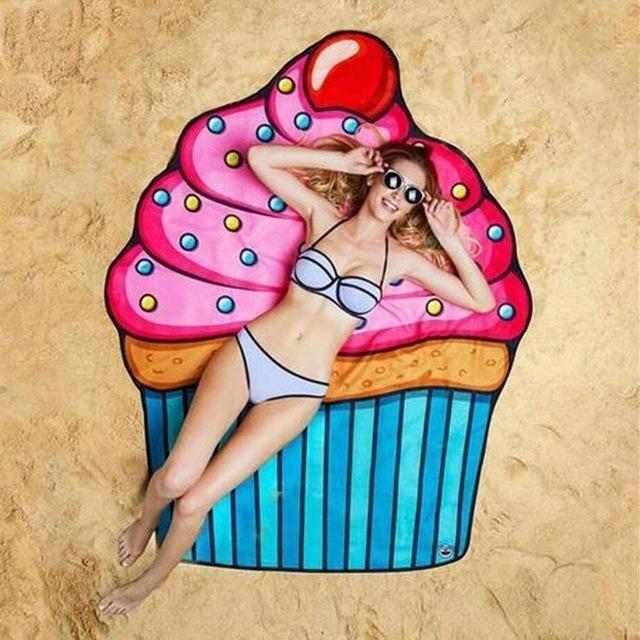 Serviette de plage imprimée cupcake essuie