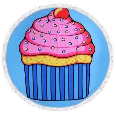 Serviette de plage imprimée cupcake premium essuie