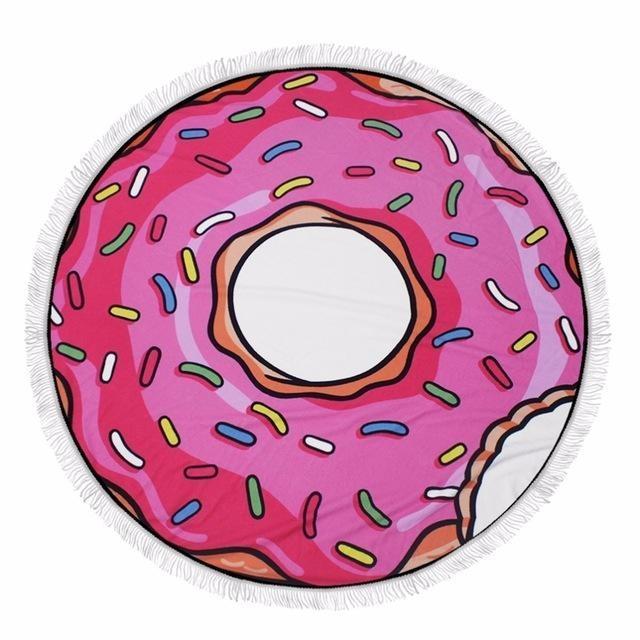 Serviette de plage imprimée donut rose premium essuie