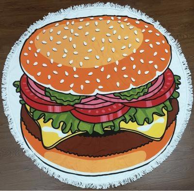Serviette de plage imprimée hamburger premium essuie