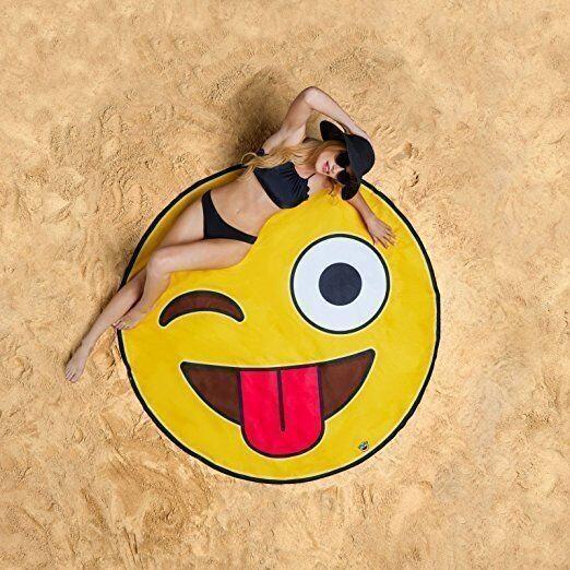 Serviette de plage imprimée smiley essuie