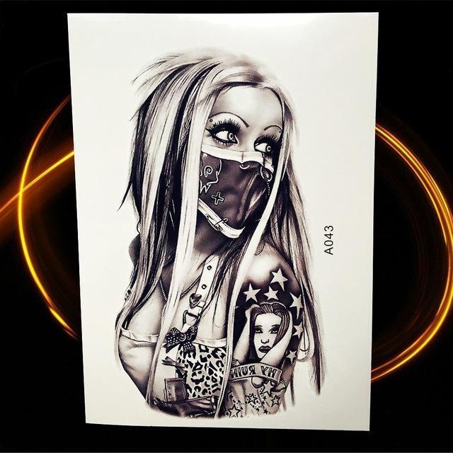 Tatouage Temporaire Black & Grey HA043 tatouage